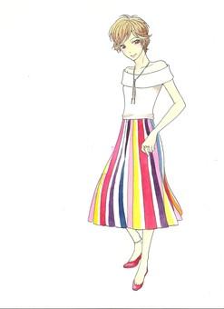 Women in striped skirt