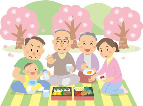 Spring Ohanami friends family illustration
