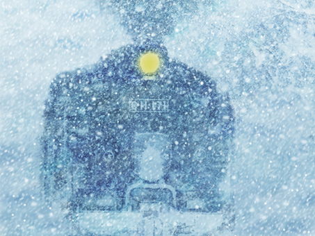 Heavy snow and steam locomotive