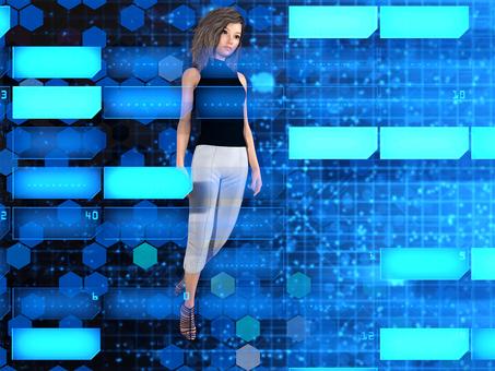 Women walking in the futuristic electronic brain world digital domain