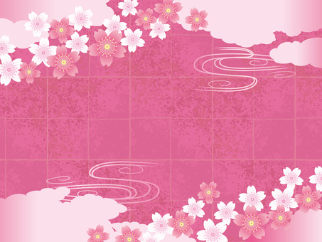 Background material with spring Japanese paper and clouds and cherry blossoms 03
