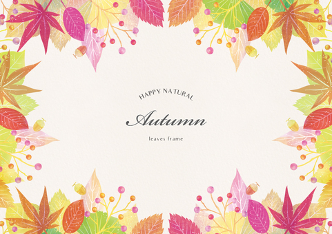 Autumn background frame part 8 watercolor style