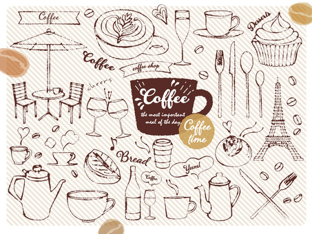 Hand-drawn cafe illustration material