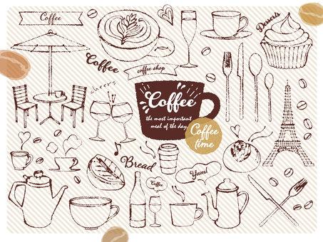 手绘咖啡馆插图素材