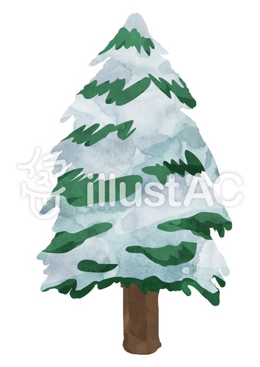 針葉樹 -雪- ② 植物 水彩のイラスト