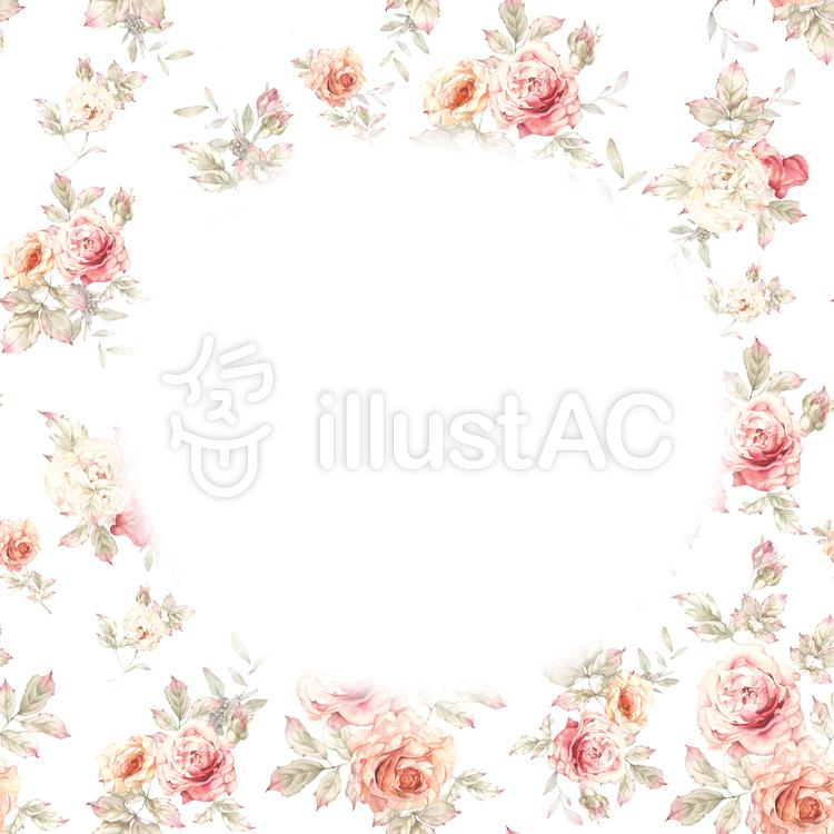 花枠395 少し大人っぽい色のバラの花枠イラスト No 無料イラストなら イラストac