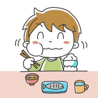 Illustration of eating rice