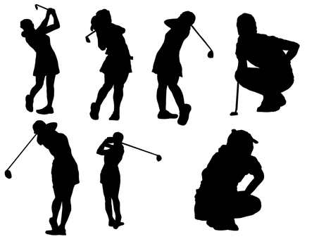 Female golfer silhouette