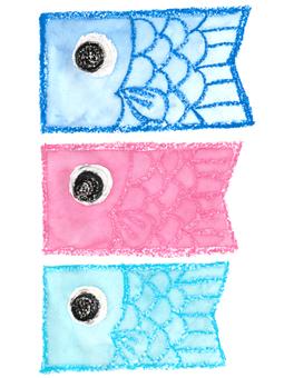 Carp streamer 02 (Crayon, watercolor illustration)