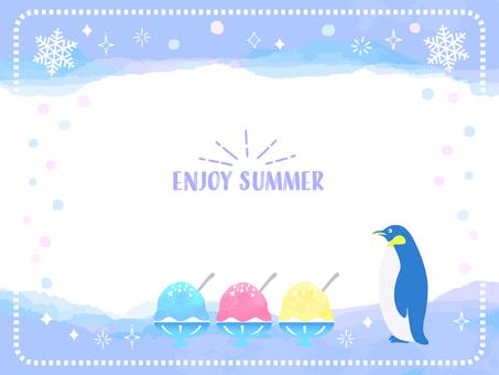Summer watercolor penguin frame 5