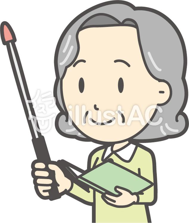 老人ボブ女性-223-バストのイラスト