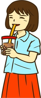 Woman drinking tapioca