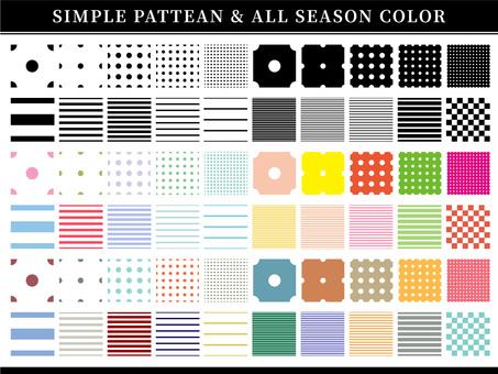 シンプルドットボーダーパターンと四季の色