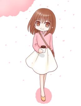 Walk with a coffee (Sakura)