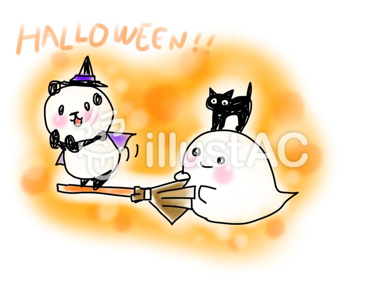 ハロウィンのパンダとおばけのイラスト