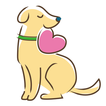 A dog with a heart