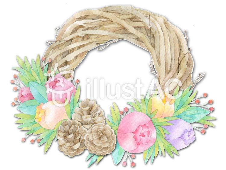 花飾りリース ★433-Fのイラスト