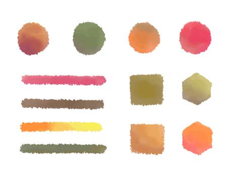 Autumn color watercolor brush illustration material