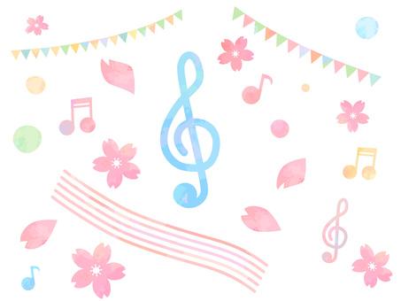 수채화 風桜와 음표 음악 소재 부품 세트