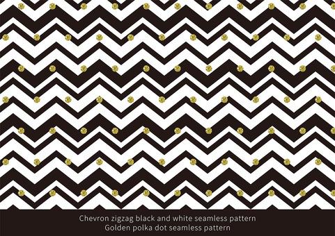 Zigzag pattern golden glitter dot pattern