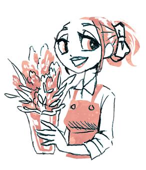 拿著一個開花的花瓶的微笑的婦女