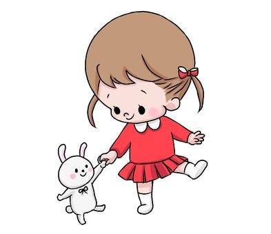 Rabbit and girl