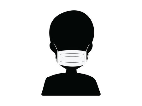 Mask wearing illustration (black)