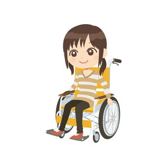 A woman riding a wheelchair