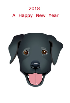 2018 New Year's Card Black Labrador