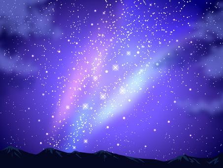 별들이 밤하늘과 산맥 배경 02