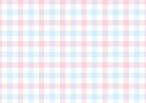 Gingham <pastel peach × light blue>