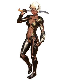 銀髪褐色の人外混血女闘士