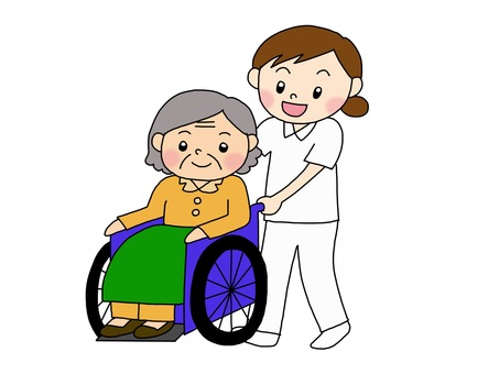 Wheelchair grandma and nursing care staff