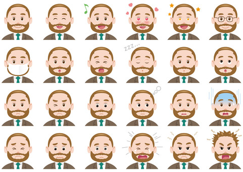 Business man, facial expression, illustration