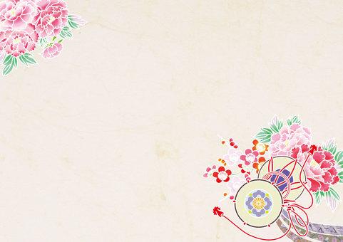 Drum and Peony _ Kimono Pattern Horizontal Plate _ Washi Paper Right
