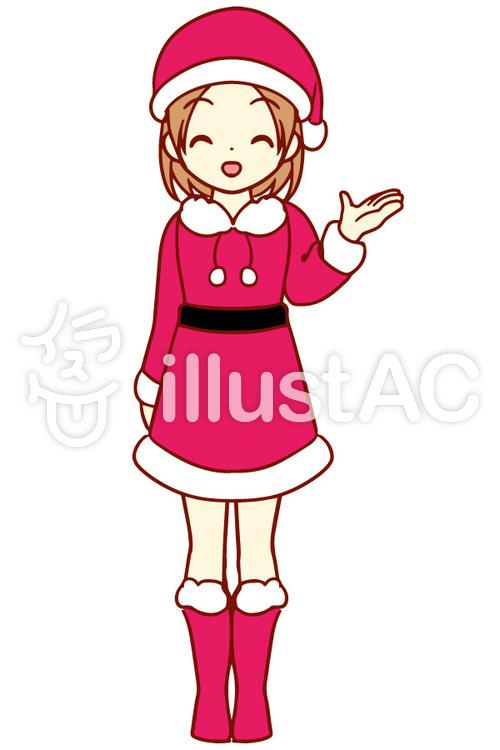 かわいいサンタ服の女の子イラスト No 1263071無料イラストなら