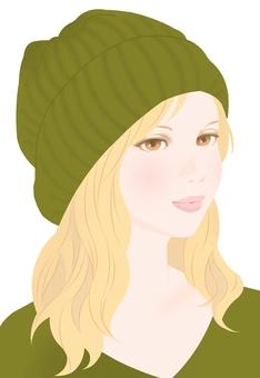 Autumn color knit cap olive