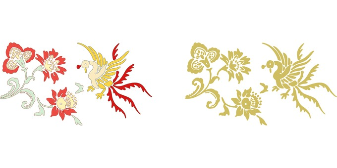 Suzaku and flowers 2 sets