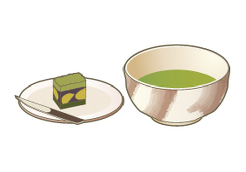 Matcha and Japanese sweets set _ chestnut sheepskin