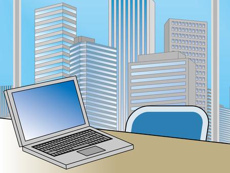 オフィス街(46)高層ビル ノートPC3
