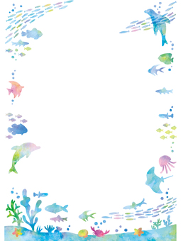 Summer-like sea creatures frame
