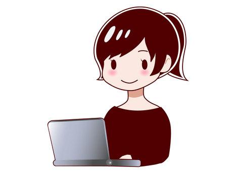 使用計算機的女人
