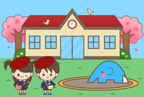보육원 · 유치원 (벚꽃 + 배경 + 원아)