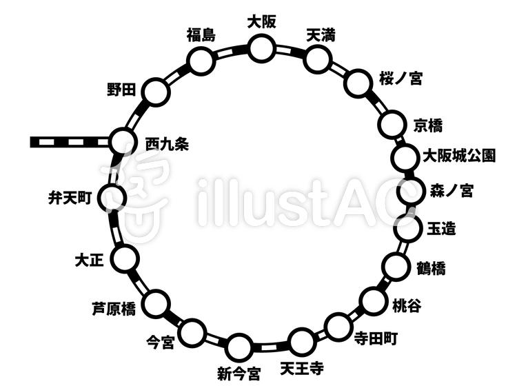 大阪環状線路線図イラスト No 120813無料イラストならイラストac