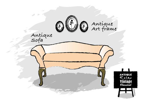 Antique brush style hand painted sofa