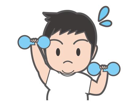 Male upper body exercising dumbbell movement
