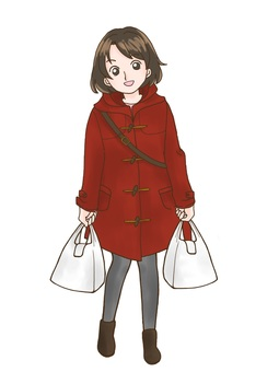 Girl with a bag of supermarket coat red