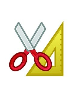 Scissors and triangle ruler