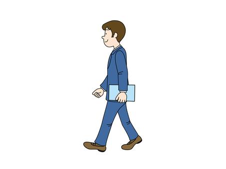 Walking office worker