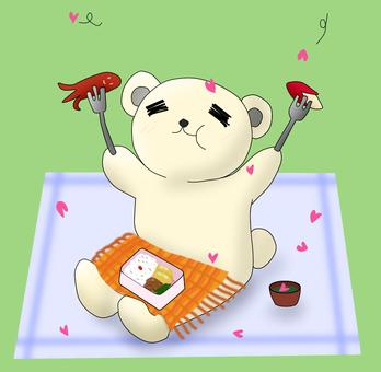꽃놀이 도시락을 먹고 흰색 곰